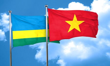 vietnam flag: Rwanda flag with Vietnam flag, 3D rendering