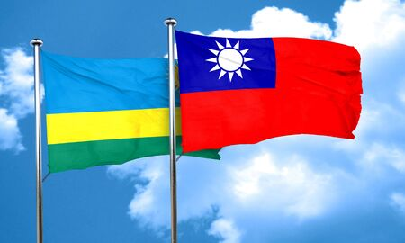 taiwanese: Rwanda flag with Taiwan flag, 3D rendering Stock Photo