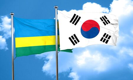 korea flag: Rwanda flag with South Korea flag, 3D rendering Stock Photo