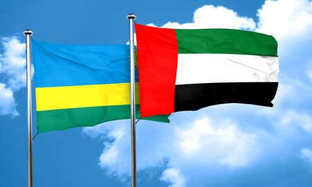 rwanda: Rwanda flag with UAE flag, 3D rendering
