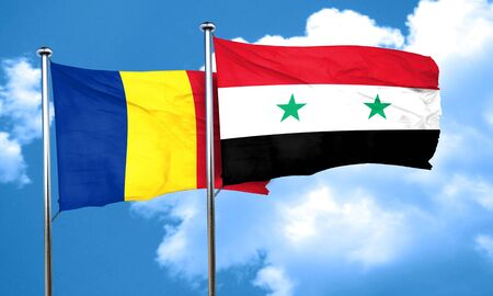 romania flag: Romania flag with Syria flag, 3D rendering Stock Photo