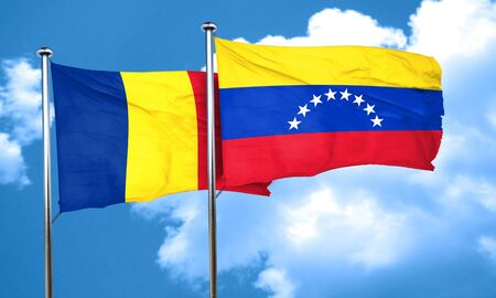 venezuela flag: Romania flag with Venezuela flag, 3D rendering Stock Photo
