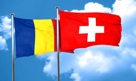 romania flag: Romania flag with Switzerland flag, 3D rendering
