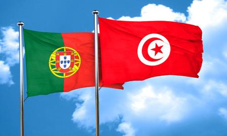 drapeau portugal: Portugal drapeau avec le drapeau Tunisie, rendu 3D