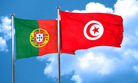 portugese: Portugal flag with Tunisia flag, 3D rendering