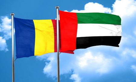 romania flag: Romania flag with UAE flag, 3D rendering