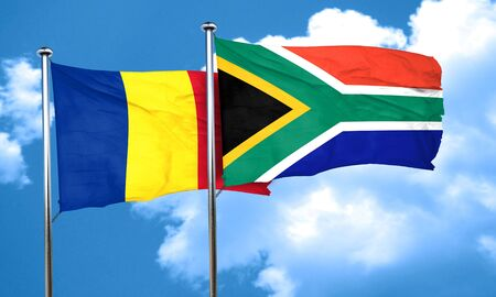 romania flag: Romania flag with South Africa flag, 3D rendering