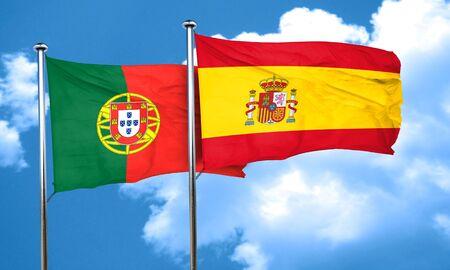 drapeau portugal: Drapeau du Portugal avec l'Espagne drapeau, rendu 3D