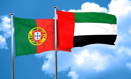 portugal flag: Portugal flag with UAE flag, 3D rendering