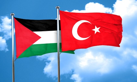 flag pole: palestine flag with Turkey flag, 3D rendering