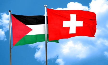 swiss flag: palestine flag with Switzerland flag, 3D rendering