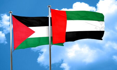 flag: palestine flag with UAE flag, 3D rendering Stock Photo