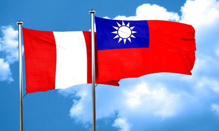 bandera de peru: bandera de Perú con la bandera de Taiwán, 3D Foto de archivo