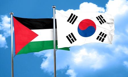 flag pole: palestine flag with South Korea flag, 3D rendering