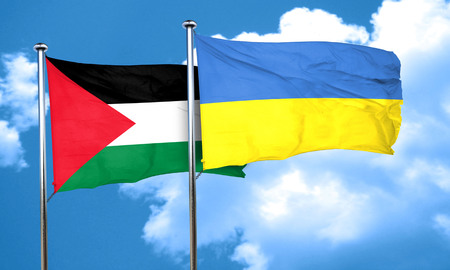 palestine flag with Ukraine flag, 3D rendering