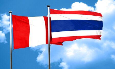 bandera de peru: bandera de Perú con la bandera de Tailandia, 3D