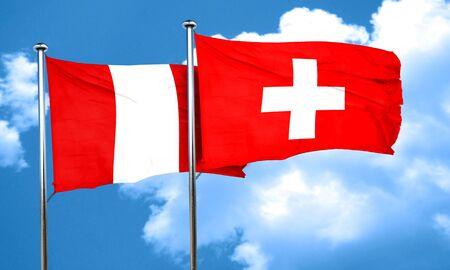 bandera de peru: bandera de Perú con la bandera Suiza, 3D Foto de archivo