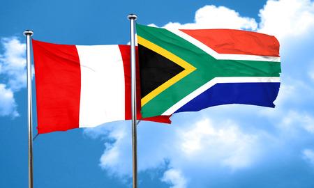 bandera de peru: bandera de Perú con la bandera de Sudáfrica, 3D