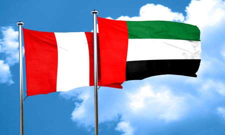 bandera de peru: bandera de Perú con la bandera de EAU, representación 3D