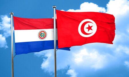 bandera de paraguay: bandera de Paraguay con la bandera de Túnez, 3D Foto de archivo