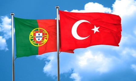 drapeau portugal: Portugal drapeau avec le drapeau Turquie, rendu 3D