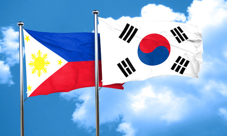 philippino: Philippines flag with South Korea flag, 3D rendering