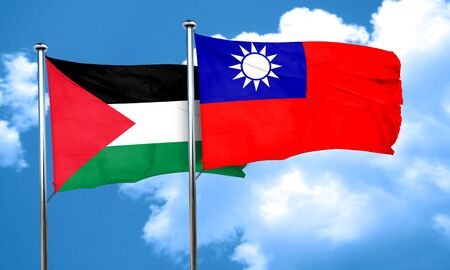 flag pole: palestine flag with Taiwan flag, 3D rendering