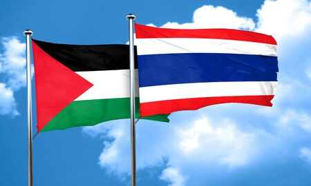 palestine flag with Thailand flag, 3D rendering
