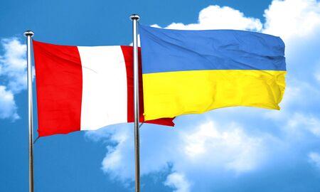 ukraine flag: Peru flag with Ukraine flag, 3D rendering