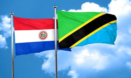 bandera de paraguay: bandera de Paraguay con la bandera de Tanzania, 3D