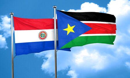 bandera de paraguay: bandera de Paraguay con la bandera de Sudán del Sur, 3D
