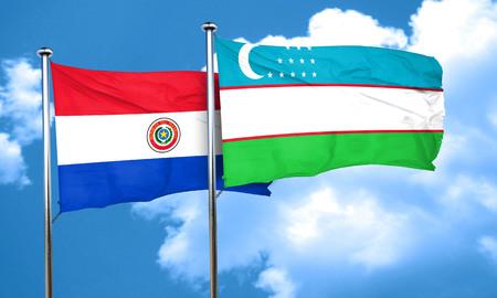 bandera de paraguay: bandera de Paraguay con la bandera de Uzbekist�n, 3D Foto de archivo