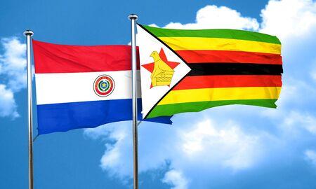 bandera de paraguay: bandera de Paraguay con la bandera de Zimbabwe, 3D