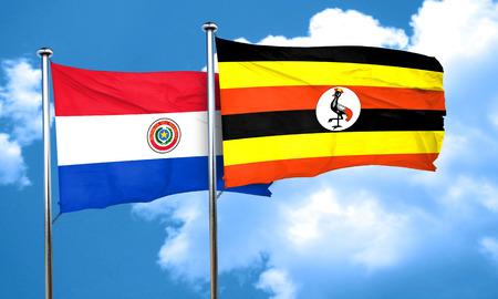 bandera de paraguay: bandera de Paraguay con la bandera de Uganda, 3D