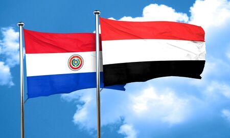 bandera de paraguay: bandera de Paraguay con la bandera de Yemen, 3D