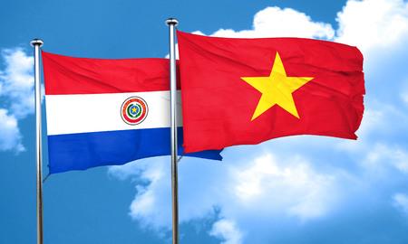 bandera de paraguay: bandera de Paraguay con la bandera de Vietnam, 3D