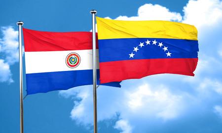 venezuela flag: Paraguay flag with Venezuela flag, 3D rendering
