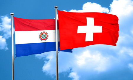 switzerland flag: Paraguay flag with Switzerland flag, 3D rendering
