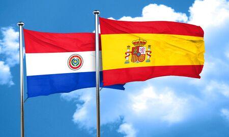 bandera de paraguay: bandera de Paraguay con la bandera de Espa�a, 3D