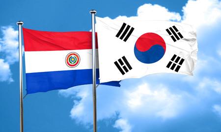 bandera de paraguay: bandera de Paraguay con la bandera de Corea del Sur, 3D