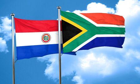bandera de paraguay: bandera de Paraguay con la bandera de Sud�frica, 3D Foto de archivo
