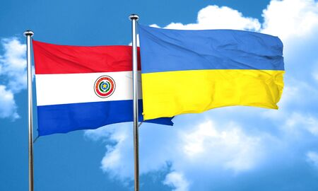 bandera de paraguay: bandera de Paraguay con la bandera de Ucrania, 3D