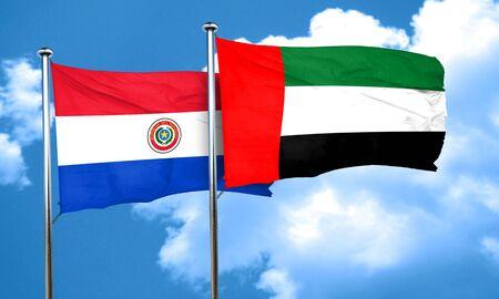 bandera de paraguay: bandera de Paraguay con la bandera de EAU, representaci�n 3D