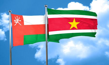 suriname: Oman flag with Suriname flag, 3D rendering