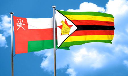 zimbabwe: bandera de Om�n con la bandera de Zimbabwe, 3D