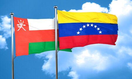 venezuela flag: Oman flag with Venezuela flag, 3D rendering Stock Photo