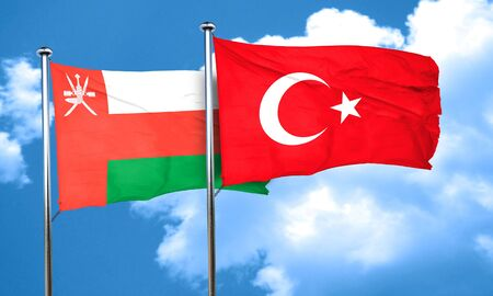 3d turkey: Oman flag with Turkey flag, 3D rendering Stock Photo