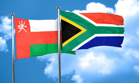 south africa flag: Oman flag with South Africa flag, 3D rendering Stock Photo