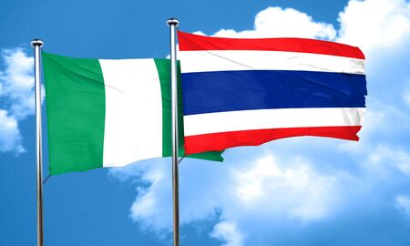 nationalities: Nigeria flag with Thailand flag, 3D rendering