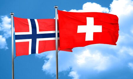 switzerland flag: norway flag with Switzerland flag, 3D rendering